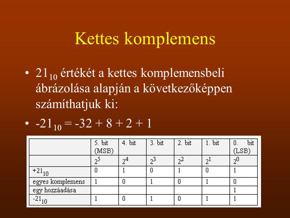 Kettes komplemens 21 10 értékét a kettes komplemensbeli ábrázolása alapján a következőképpen számíthatjuk ki: -21 10 = -32 + 8 + 2 + 1