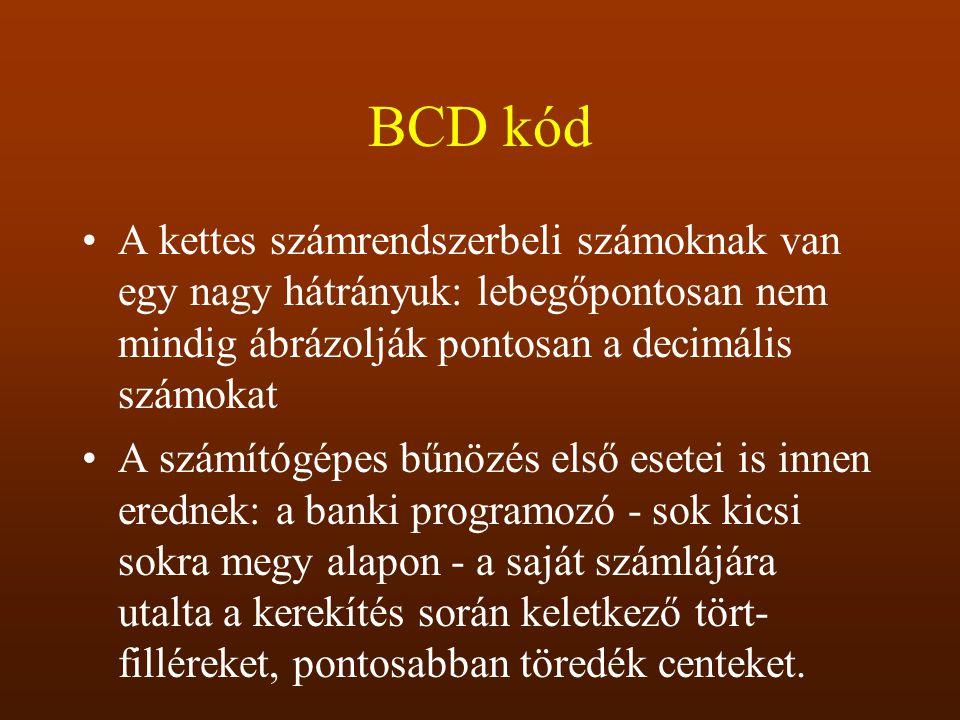 BCD kód A kettes számrendszerbeli számoknak van egy nagy hátrányuk: lebegőpontosan nem mindig ábrázolják pontosan a decimális számokat A számítógépes