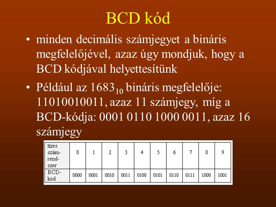 BCD kód minden decimális számjegyet a bináris megfelelőjével, azaz úgy mondjuk, hogy a BCD kódjával helyettesítünk Például az 1683 10 bináris megfelel