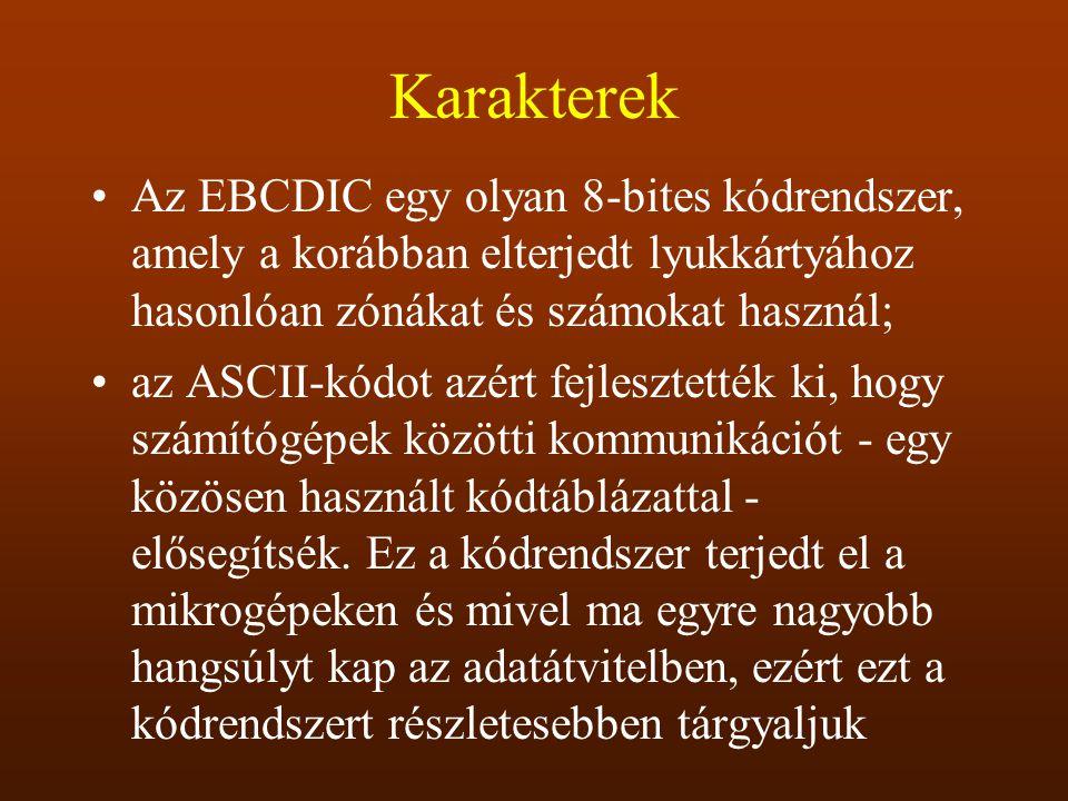 Karakterek Az EBCDIC egy olyan 8-bites kódrendszer, amely a korábban elterjedt lyukkártyához hasonlóan zónákat és számokat használ; az ASCII-kódot azé