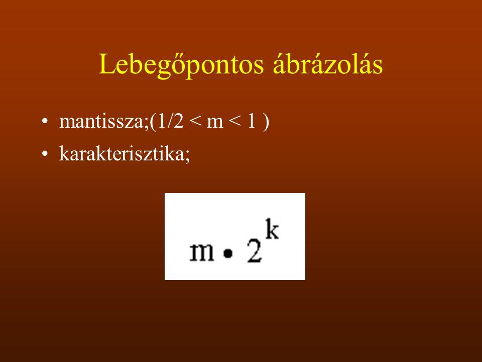Lebegőpontos ábrázolás mantissza;(1/2 < m < 1 ) karakterisztika;
