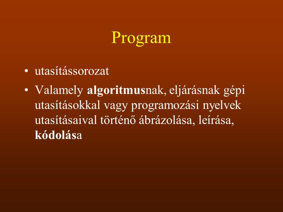 Program utasítássorozat Valamely algoritmusnak, eljárásnak gépi utasításokkal vagy programozási nyelvek utasításaival történő ábrázolása, leírása, kód