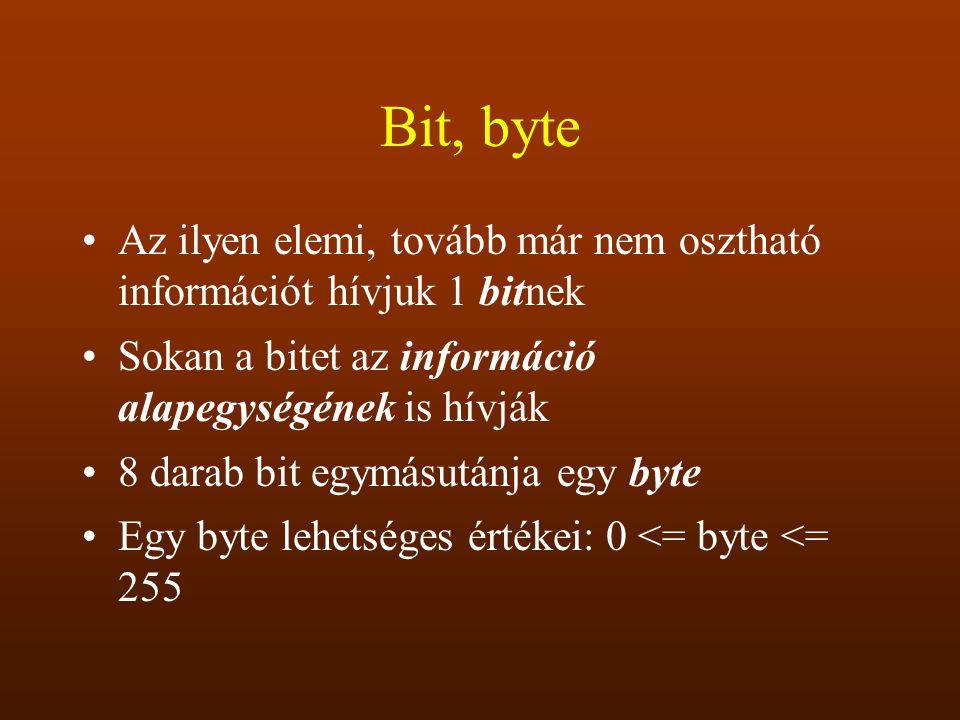 Bit, byte Az ilyen elemi, tovább már nem osztható információt hívjuk 1 bitnek Sokan a bitet az információ alapegységének is hívják 8 darab bit egymásu