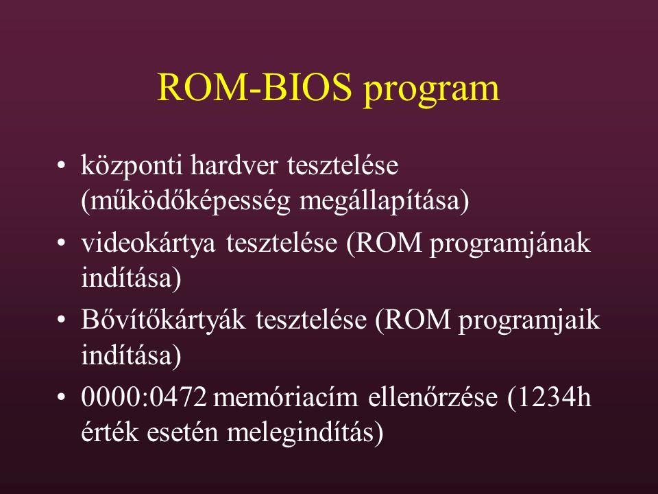 ROM-BIOS program központi hardver tesztelése (működőképesség megállapítása) videokártya tesztelése (ROM programjának indítása) Bővítőkártyák tesztelés