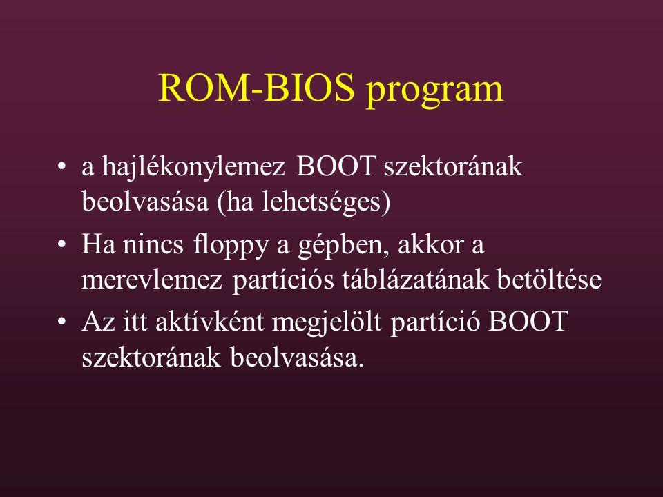 ROM-BIOS program a hajlékonylemez BOOT szektorának beolvasása (ha lehetséges) Ha nincs floppy a gépben, akkor a merevlemez partíciós táblázatának betö
