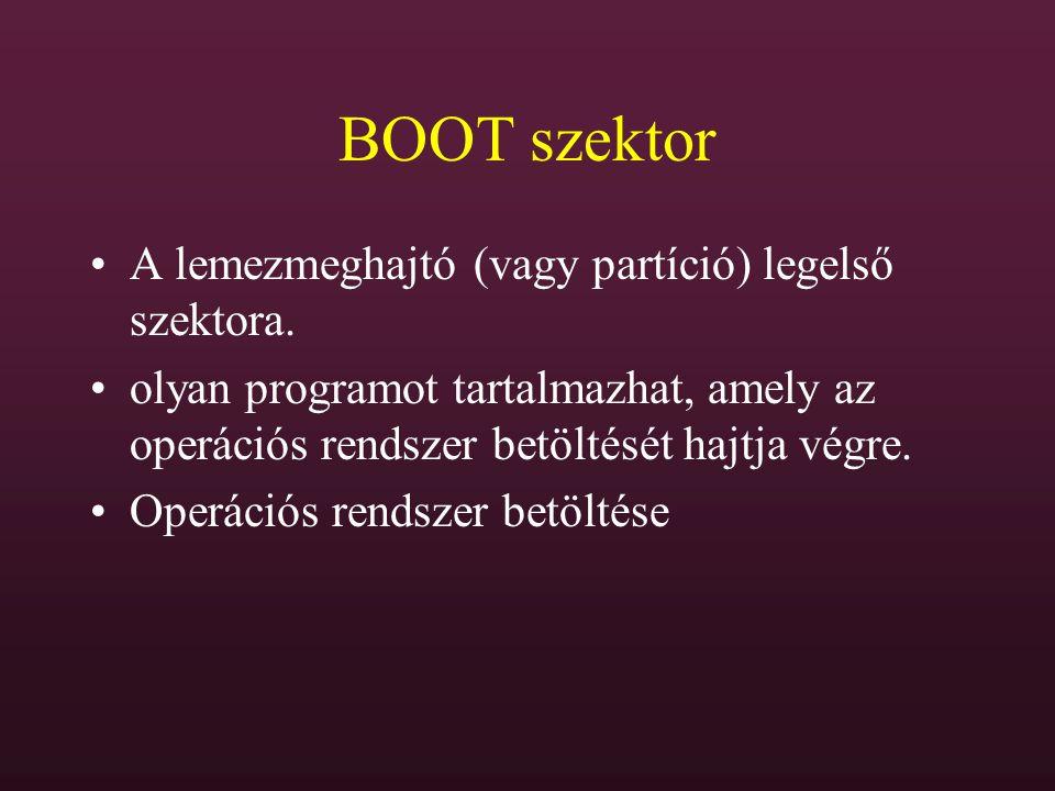 BOOT szektor A lemezmeghajtó (vagy partíció) legelső szektora. olyan programot tartalmazhat, amely az operációs rendszer betöltését hajtja végre. Oper