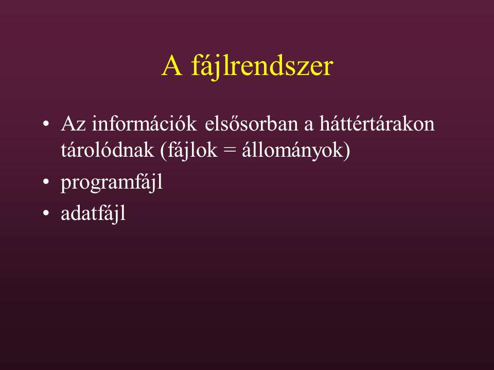 A fájlrendszer Az információk elsősorban a háttértárakon tárolódnak (fájlok = állományok) programfájl adatfájl