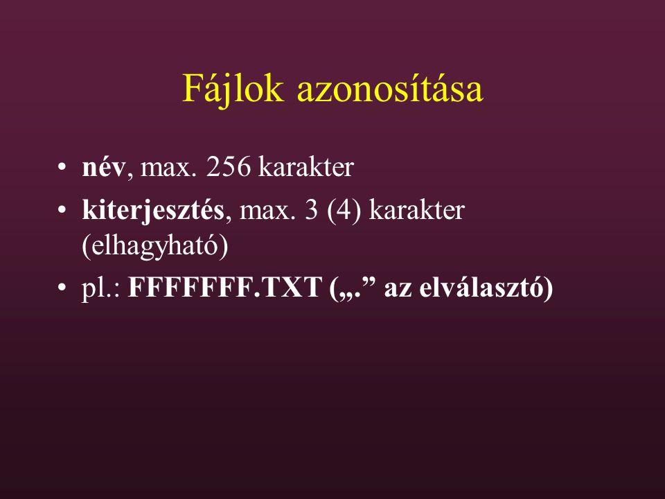 """Fájlok azonosítása név, max. 256 karakter kiterjesztés, max. 3 (4) karakter (elhagyható) pl.: FFFFFFF.TXT (""""."""" az elválasztó)"""