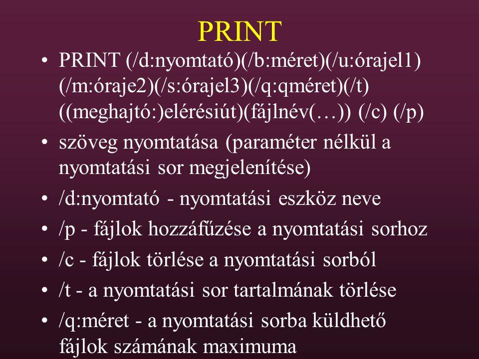 PRINT PRINT (/d:nyomtató)(/b:méret)(/u:órajel1) (/m:óraje2)(/s:órajel3)(/q:qméret)(/t) ((meghajtó:)elérésiút)(fájlnév(…)) (/c) (/p) szöveg nyomtatása
