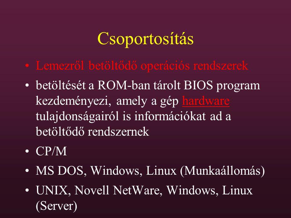 Csoportosítás Lemezről betöltődő operációs rendszerek betöltését a ROM-ban tárolt BIOS program kezdeményezi, amely a gép hardware tulajdonságairól is