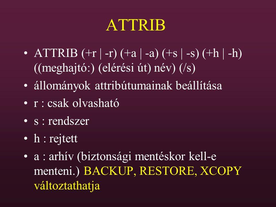 ATTRIB ATTRIB (+r | -r) (+a | -a) (+s | -s) (+h | -h) ((meghajtó:) (elérési út) név) (/s) állományok attribútumainak beállítása r : csak olvasható s :