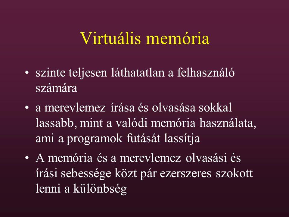 Virtuális memória szinte teljesen láthatatlan a felhasználó számára a merevlemez írása és olvasása sokkal lassabb, mint a valódi memória használata, a
