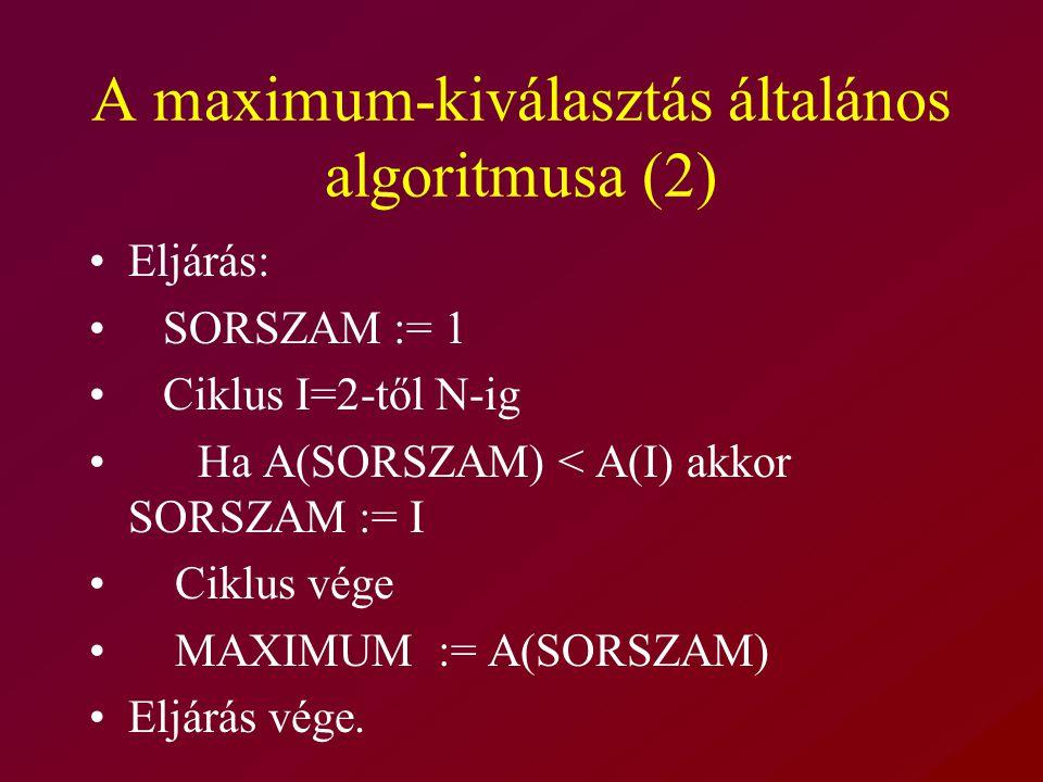 A maximum-kiválasztás általános algoritmusa (2) Eljárás: SORSZAM := 1 Ciklus I=2-től N-ig Ha A(SORSZAM) < A(I) akkor SORSZAM := I Ciklus vége MAXIMUM := A(SORSZAM) Eljárás vége.