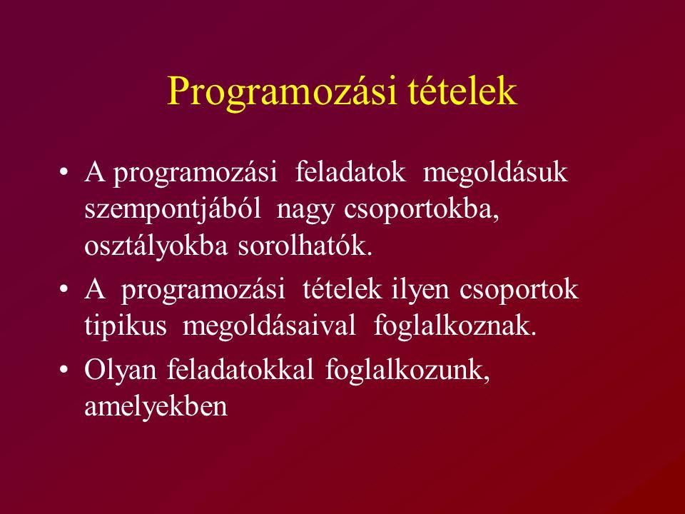 Programozási tételek A programozási feladatok megoldásuk szempontjából nagy csoportokba, osztályokba sorolhatók.