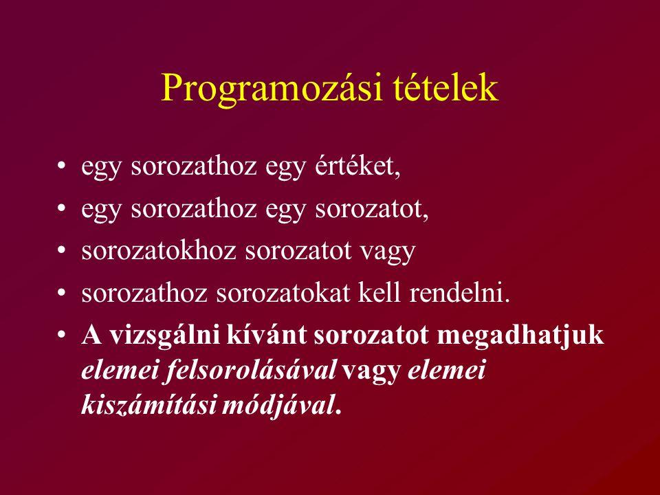 Programozási tételek egy sorozathoz egy értéket, egy sorozathoz egy sorozatot, sorozatokhoz sorozatot vagy sorozathoz sorozatokat kell rendelni.