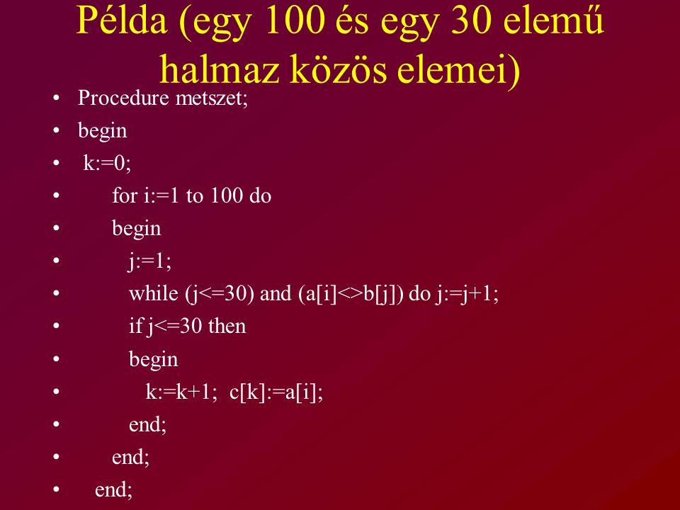 Példa (egy 100 és egy 30 elemű halmaz közös elemei) Procedure metszet; begin k:=0; for i:=1 to 100 do begin j:=1; while (j b[j]) do j:=j+1; if j<=30 then begin k:=k+1; c[k]:=a[i]; end;