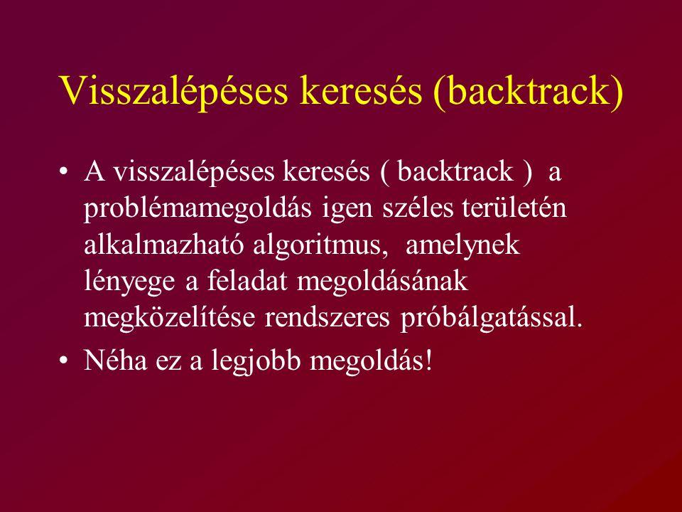 Visszalépéses keresés (backtrack) A visszalépéses keresés ( backtrack ) a problémamegoldás igen széles területén alkalmazható algoritmus, amelynek lényege a feladat megoldásának megközelítése rendszeres próbálgatással.