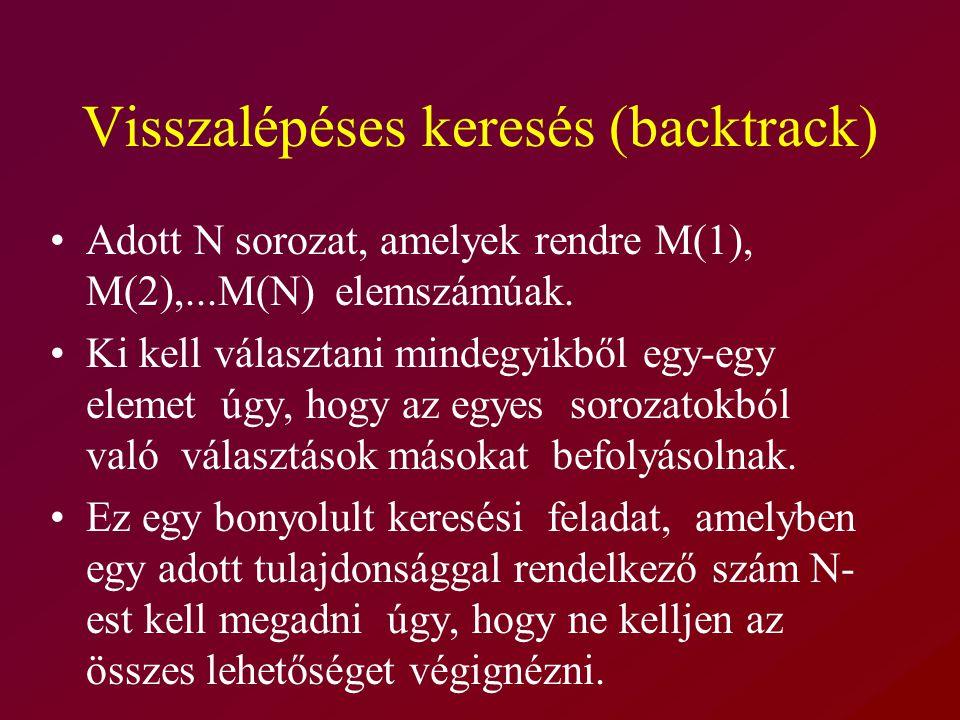 Visszalépéses keresés (backtrack) Adott N sorozat, amelyek rendre M(1), M(2),...M(N) elemszámúak.
