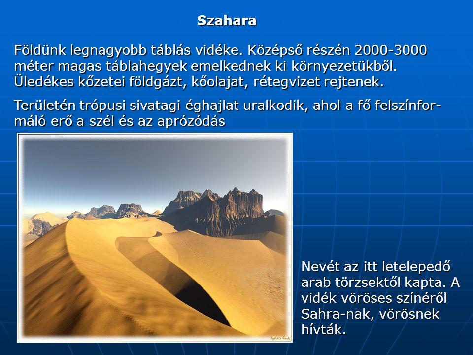 Szahara Földünk legnagyobb táblás vidéke.
