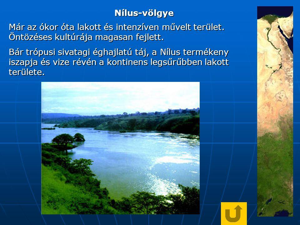 Nílus-völgye Már az ókor óta lakott és intenzíven művelt terület.