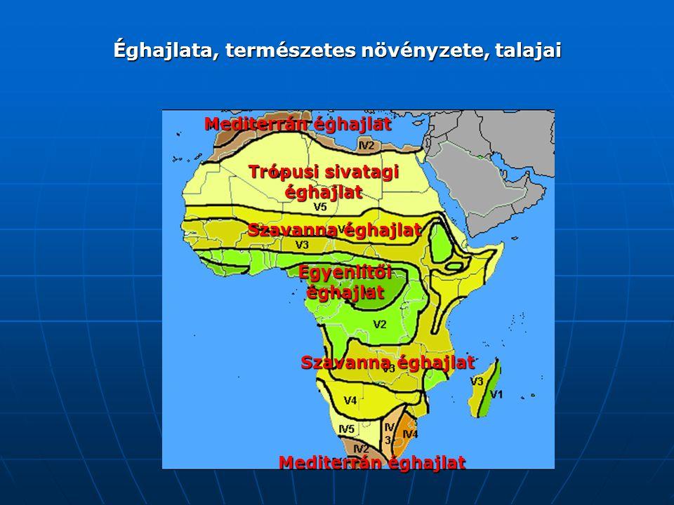 Éghajlata, természetes növényzete, talajai Egyenlítői éghajlat Szavanna éghajlat Trópusi sivatagi éghajlat Mediterrán éghajlat
