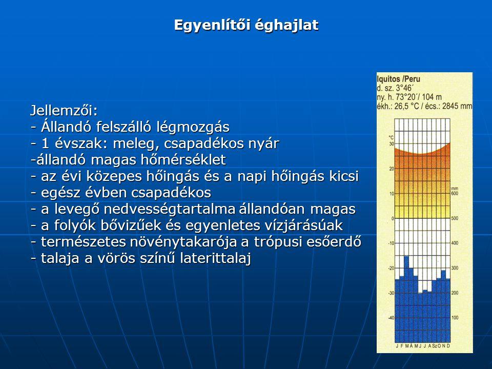 Egyenlítői éghajlat Jellemzői: - Állandó felszálló légmozgás - 1 évszak: meleg, csapadékos nyár -állandó magas hőmérséklet - az évi közepes hőingás és a napi hőingás kicsi - egész évben csapadékos - a levegő nedvességtartalma állandóan magas - a folyók bővizűek és egyenletes vízjárásúak - természetes növénytakarója a trópusi esőerdő - talaja a vörös színű laterittalaj