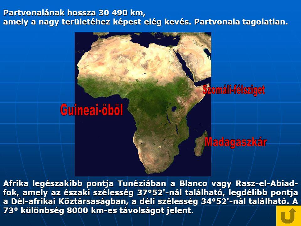 Partvonalának hossza 30 490 km, amely a nagy területéhez képest elég kevés.