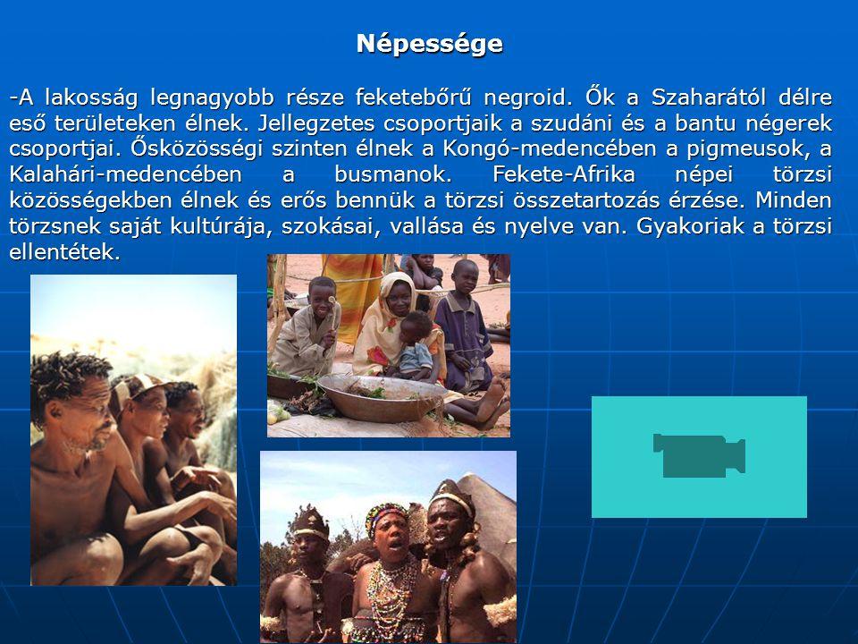 Népessége -A lakosság legnagyobb része feketebőrű negroid.