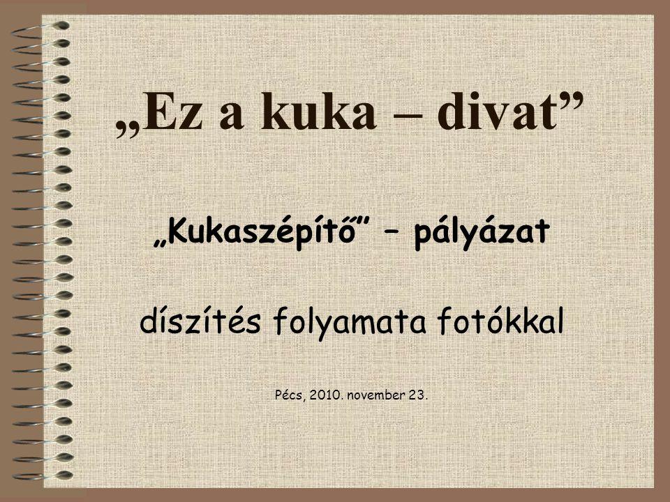 """""""Ez a kuka – divat"""" """"Kukaszépítő"""" – pályázat díszítés folyamata fotókkal Pécs, 2010. november 23."""