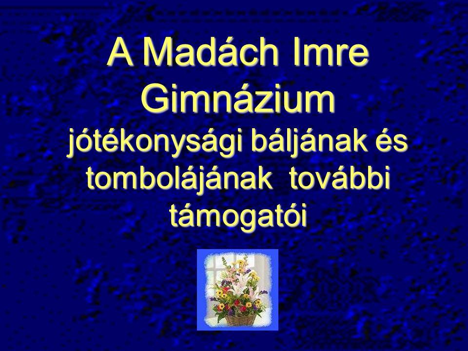 A Madách Imre Gimnázium jótékonysági báljának és tombolájának további támogatói