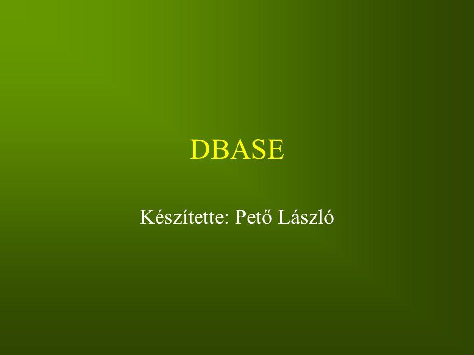 DBASE Készítette: Pető László