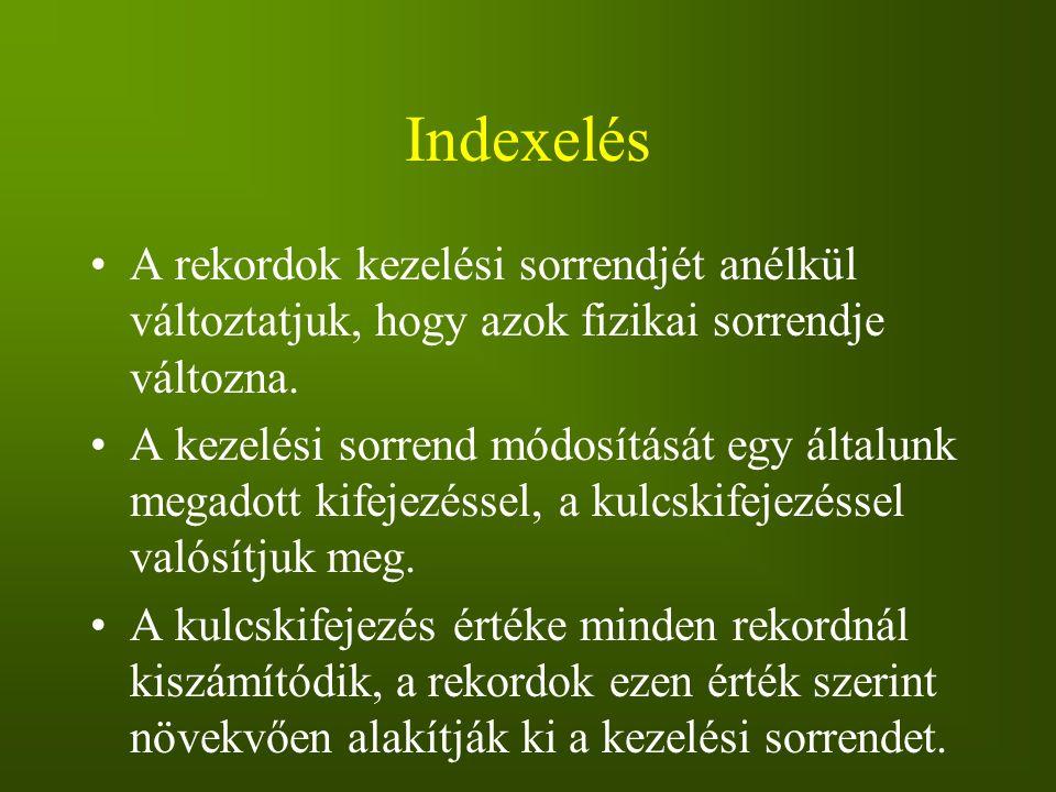 Indexelés A rekordok kezelési sorrendjét anélkül változtatjuk, hogy azok fizikai sorrendje változna. A kezelési sorrend módosítását egy általunk megad