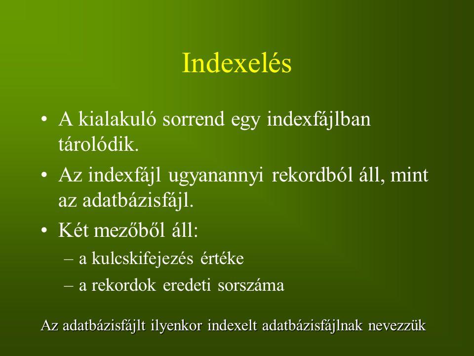 Indexelés A kialakuló sorrend egy indexfájlban tárolódik. Az indexfájl ugyanannyi rekordból áll, mint az adatbázisfájl. Két mezőből áll: –a kulcskifej