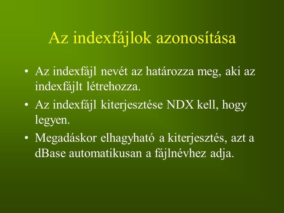 Az indexfájlok azonosítása Az indexfájl nevét az határozza meg, aki az indexfájlt létrehozza. Az indexfájl kiterjesztése NDX kell, hogy legyen. Megadá