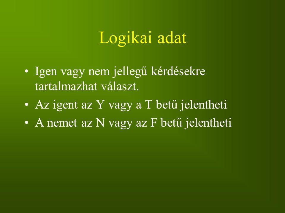 Logikai adat Igen vagy nem jellegű kérdésekre tartalmazhat választ. Az igent az Y vagy a T betű jelentheti A nemet az N vagy az F betű jelentheti