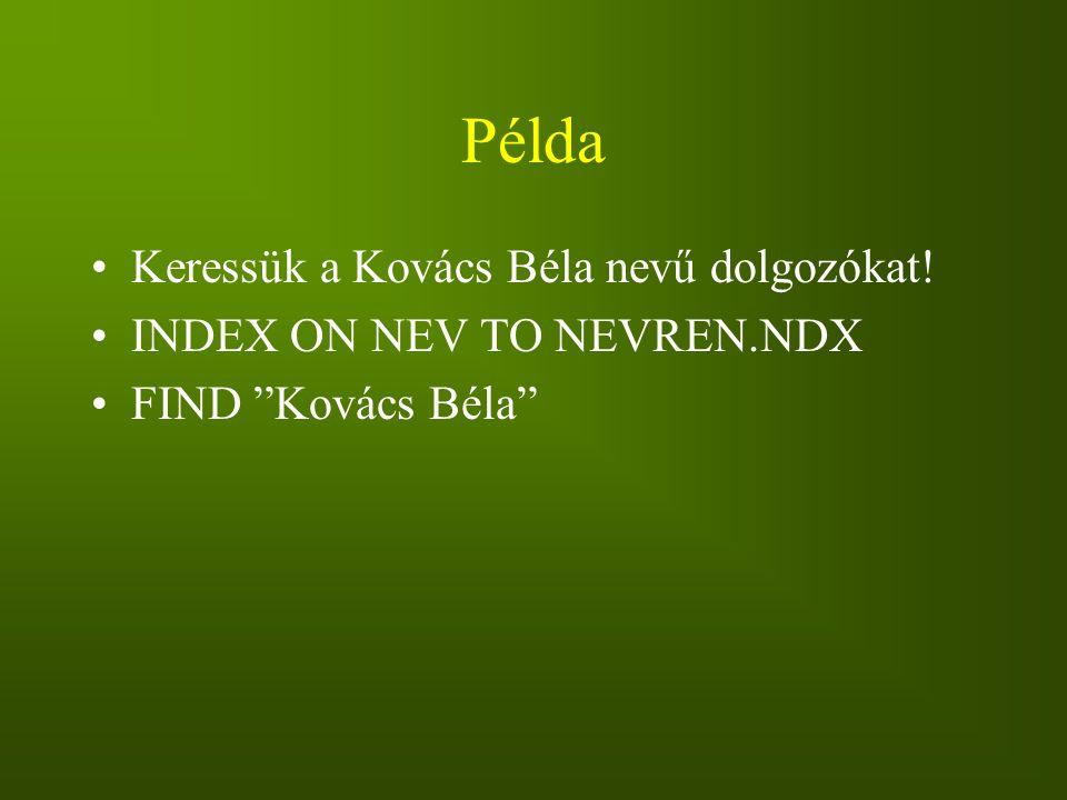 """Példa Keressük a Kovács Béla nevű dolgozókat! INDEX ON NEV TO NEVREN.NDX FIND """"Kovács Béla"""""""