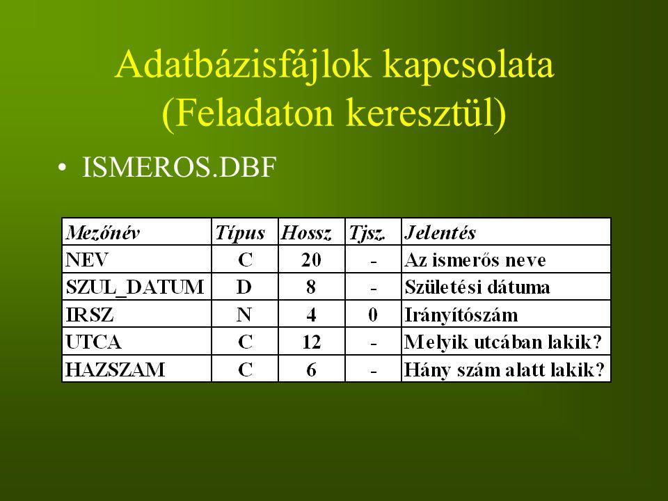 Adatbázisfájlok kapcsolata (Feladaton keresztül) ISMEROS.DBF