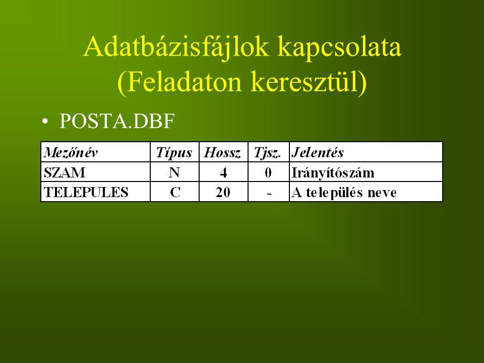 Adatbázisfájlok kapcsolata (Feladaton keresztül) POSTA.DBF