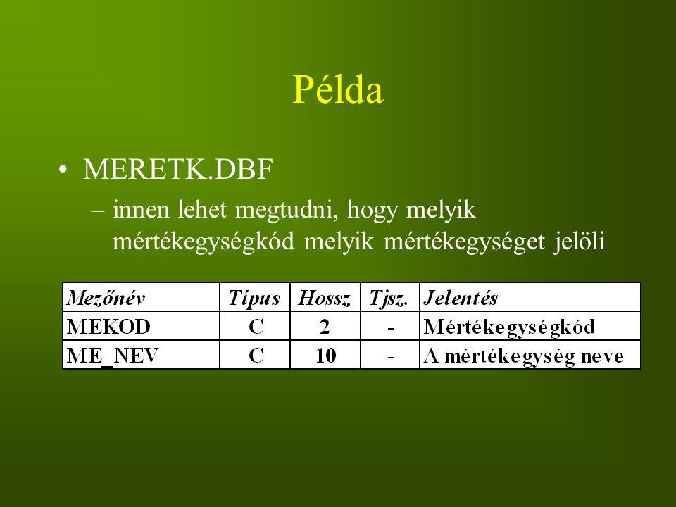 Példa MERETK.DBF –innen lehet megtudni, hogy melyik mértékegységkód melyik mértékegységet jelöli
