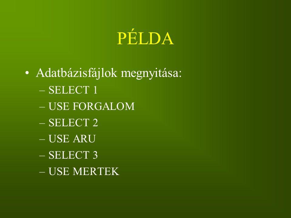 PÉLDA Adatbázisfájlok megnyitása: –SELECT 1 –USE FORGALOM –SELECT 2 –USE ARU –SELECT 3 –USE MERTEK