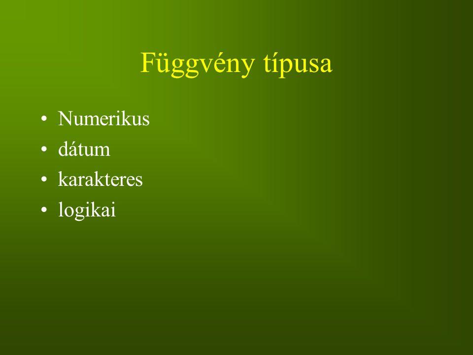 Függvény típusa Numerikus dátum karakteres logikai