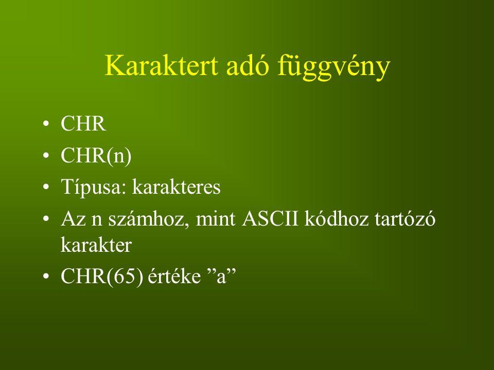 """Karaktert adó függvény CHR CHR(n) Típusa: karakteres Az n számhoz, mint ASCII kódhoz tartózó karakter CHR(65) értéke """"a"""""""