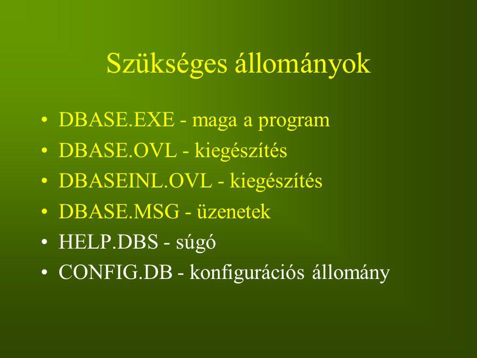 Szükséges állományok DBASE.EXE - maga a program DBASE.OVL - kiegészítés DBASEINL.OVL - kiegészítés DBASE.MSG - üzenetek HELP.DBS - súgó CONFIG.DB - ko
