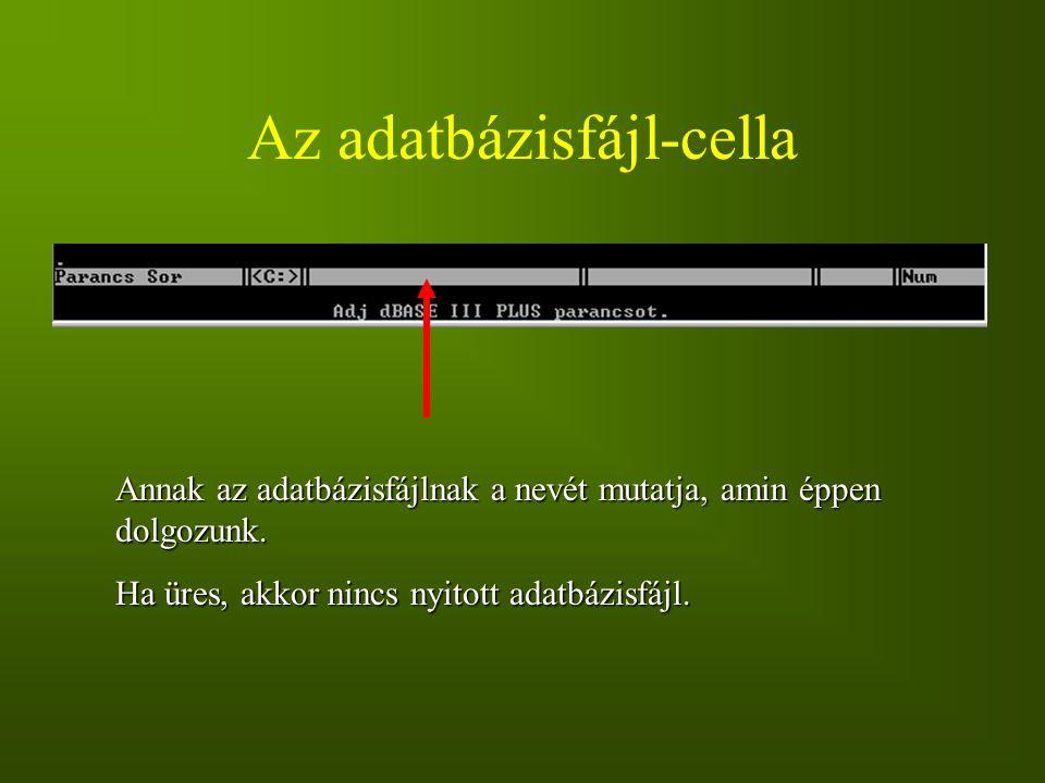 Az adatbázisfájl-cella Annak az adatbázisfájlnak a nevét mutatja, amin éppen dolgozunk. Ha üres, akkor nincs nyitott adatbázisfájl.