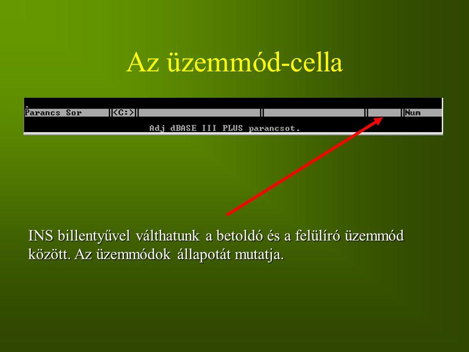 Az üzemmód-cella INS billentyűvel válthatunk a betoldó és a felülíró üzemmód között. Az üzemmódok állapotát mutatja.