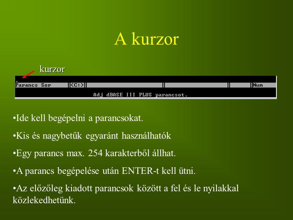 A kurzor kurzor Ide kell begépelni a parancsokat. Kis és nagybetűk egyaránt használhatók Egy parancs max. 254 karakterből állhat. A parancs begépelése