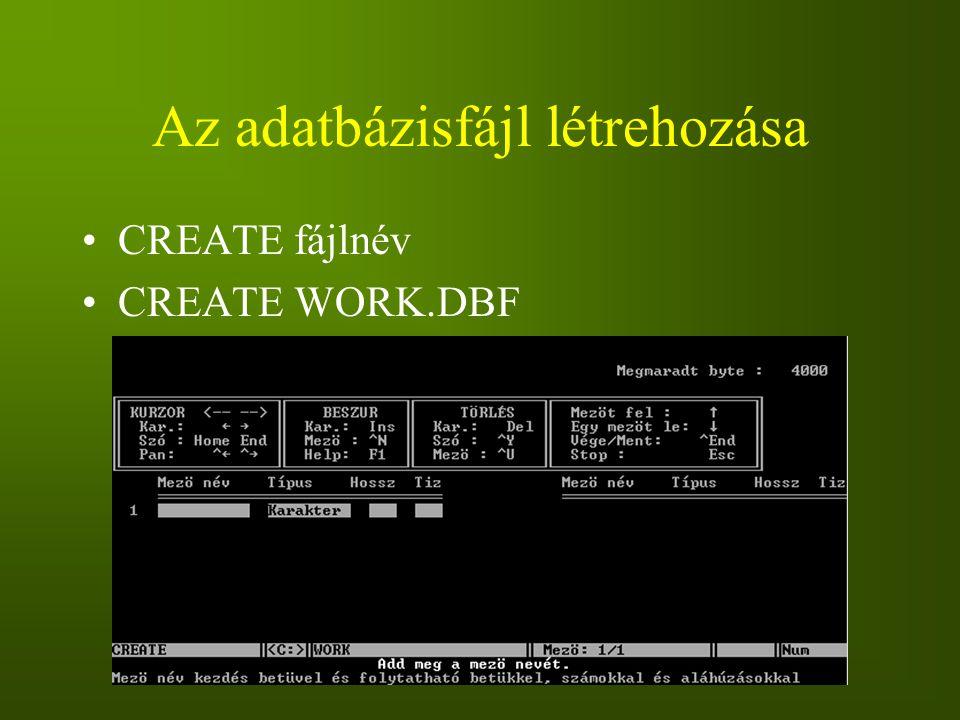 Az adatbázisfájl létrehozása CREATE fájlnév CREATE WORK.DBF