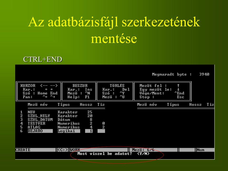 Az adatbázisfájl szerkezetének mentése CTRL+END
