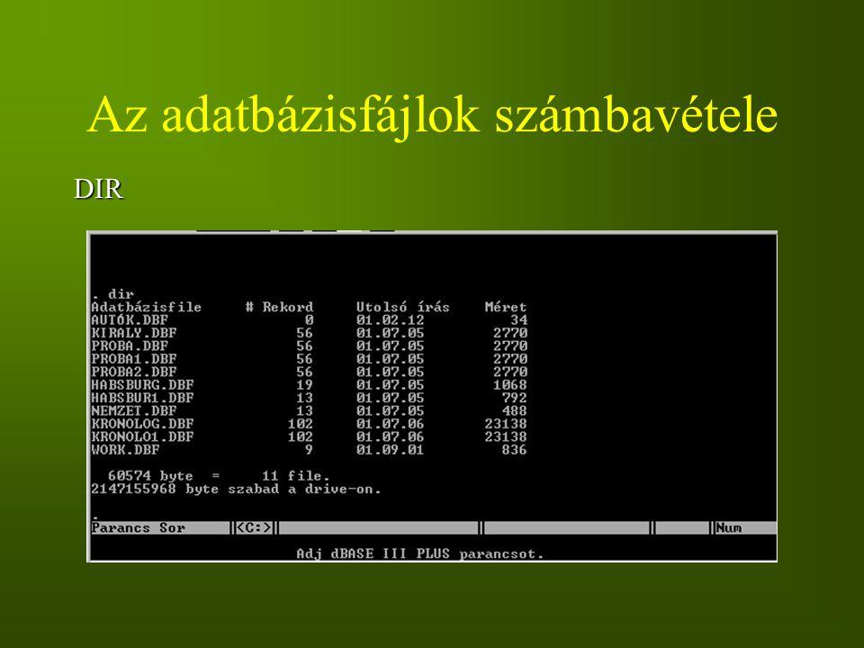 Az adatbázisfájlok számbavétele DIR