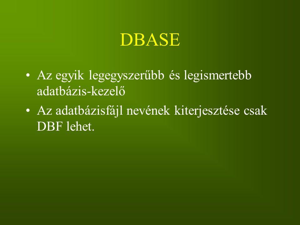 DBASE Az egyik legegyszerűbb és legismertebb adatbázis-kezelő Az adatbázisfájl nevének kiterjesztése csak DBF lehet.